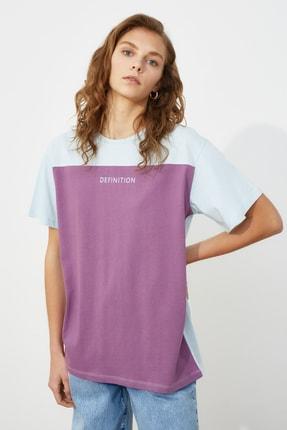 TRENDYOLMİLLA Açık Mavi Baskılı Boyfriend Örme T-Shirt TWOSS21TS0061
