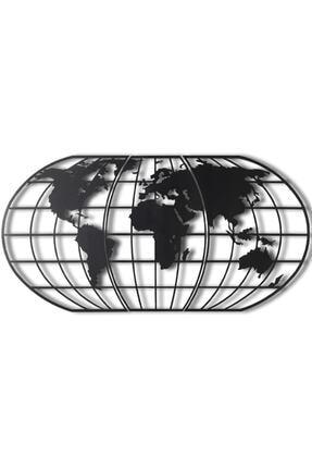 Bystag Dekoratif Metal Duvar Aksesuarı Dünya Haritası Siyah