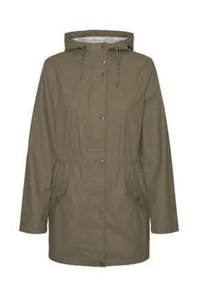 Vero Moda Kadın Haki Kapüşonlu Belden Büzülebilir Yağmurluk Mont 10244841