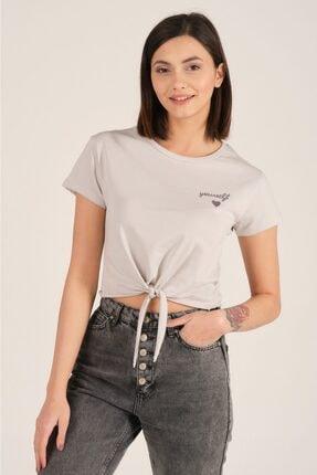 TENA MODA Kadın Gri Ön Arka Nakışlı Tişört