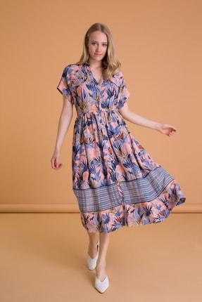 GIZIA CASUAL Kadın Mavi Tropik Desenli Kısa Kollu Midi Boy Elbise