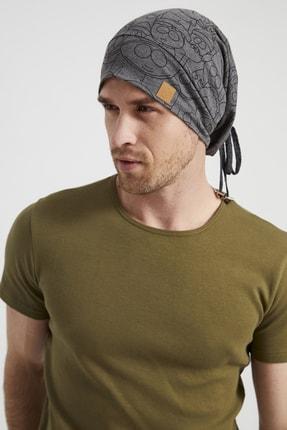 Butikgiz Erkek Füme Ip Detaylı Desenli Özel Tasarım 4 Mevsim Şapka Bere Buff -ultra Yumuşak Doğal Penye
