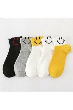 Zirve Unisex  Gülenyüz Emoji Desen Çorap 5'li