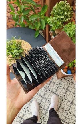 Visso leather Kahve Matrix Hakiki Deri Akordeon Deri Kredi Kartlık Deri Cüzdan Çanta