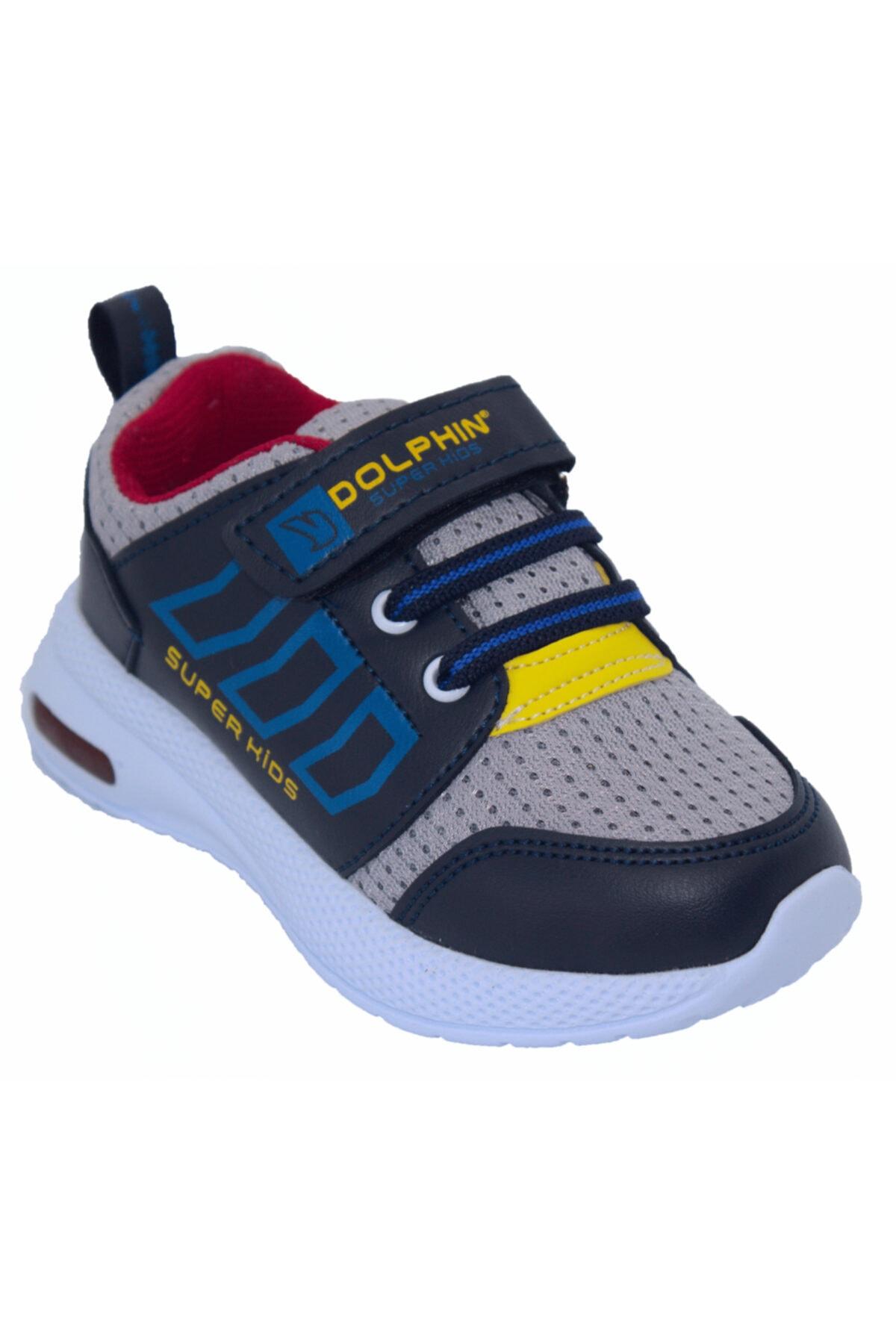Dolphin Erkek Çock Siyah Işıklı Cırt Cırtlı Spor Ayakkabı 1