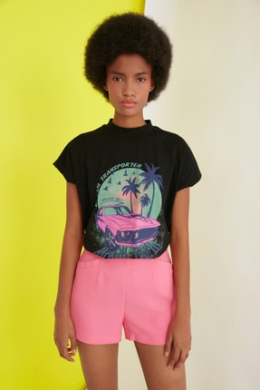 TRENDYOLMİLLA Siyah Baskılı Basic Örme T-Shirt TWOSS21TS1068