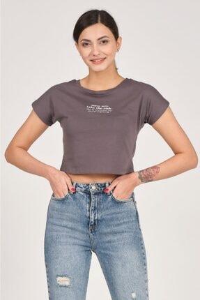 TENA MODA Kadın Antrasit Mental Note Nakışlı Tişört