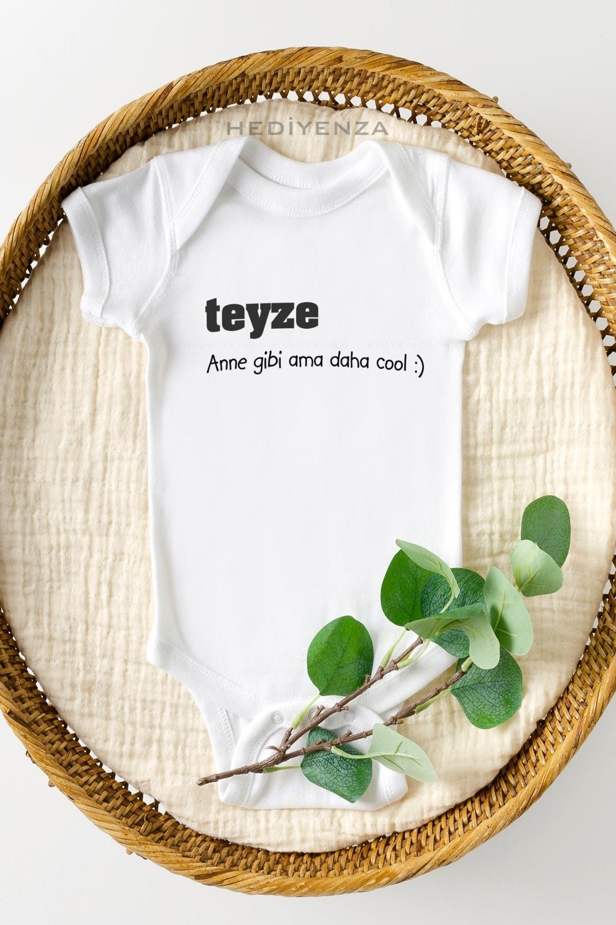 Hediyenza Teyze Anne Gibi Ama Daha Cool Baskılı Bebek Body Zıbın 1