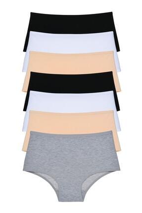 LadyMelex Kadın Gri Siyah Beyaz Ten Yüksek Bel Külot 7'li Paket