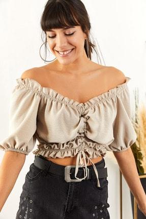 Olalook Kadın Taş Karmen Yaka Önü Büzgülü Ayrobin Bluz BLZ-19001356