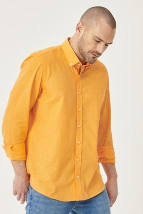 AC&Co / Altınyıldız Classics Erkek Turuncu Tailored Slim Fit Dar Kesim Düğmeli Yaka %100 Koton Gömlek