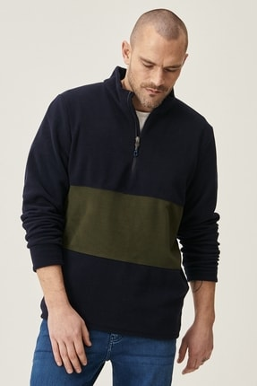AC&Co / Altınyıldız Classics Erkek Lacivert-Haki Standart Fit Günlük Rahat Bato Yaka Polar Sweatshirt