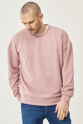 AC&Co / Altınyıldız Classics Erkek Gül Kurusu Günlük Rahat Sıfır Yaka Oversize Spor Sweatshirt