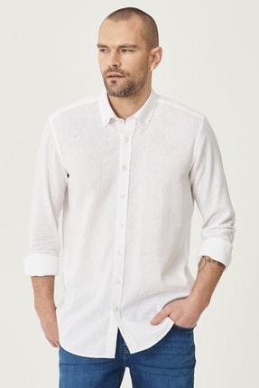 AC&Co / Altınyıldız Classics Erkek Beyaz Tailored Slim Fit Dar Kesim Düğmeli Yaka Keten Gömlek
