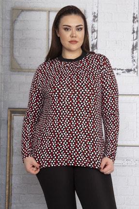 Şans Kadın Renkli Yaka Ve Kol Ağzı Ribana Detaylı Puan Desenli Bluz 65N22807