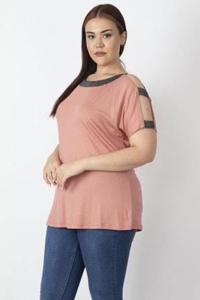 Şans Kadın Somon Tek Omuzu Ve Yakası Sim Detaylı Bluz 65N22904
