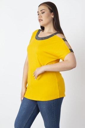 Şans Kadın Sarı Tek Omuzu Ve Yakası Sim Detaylı Bluz 65N22904