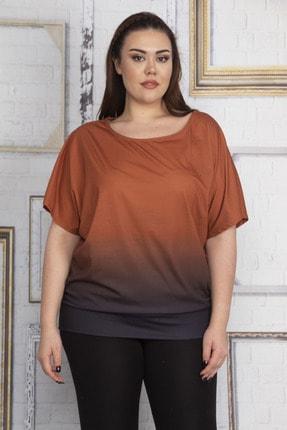 Şans Kadın Turuncu Batik Desenli Düşük Kol Etek Ucu Bantlı Bluz 65N22754