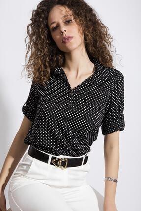 Y-London Kadın Siyah Puantiyeli Katlanabilir Kol GömlekY20S110-3810