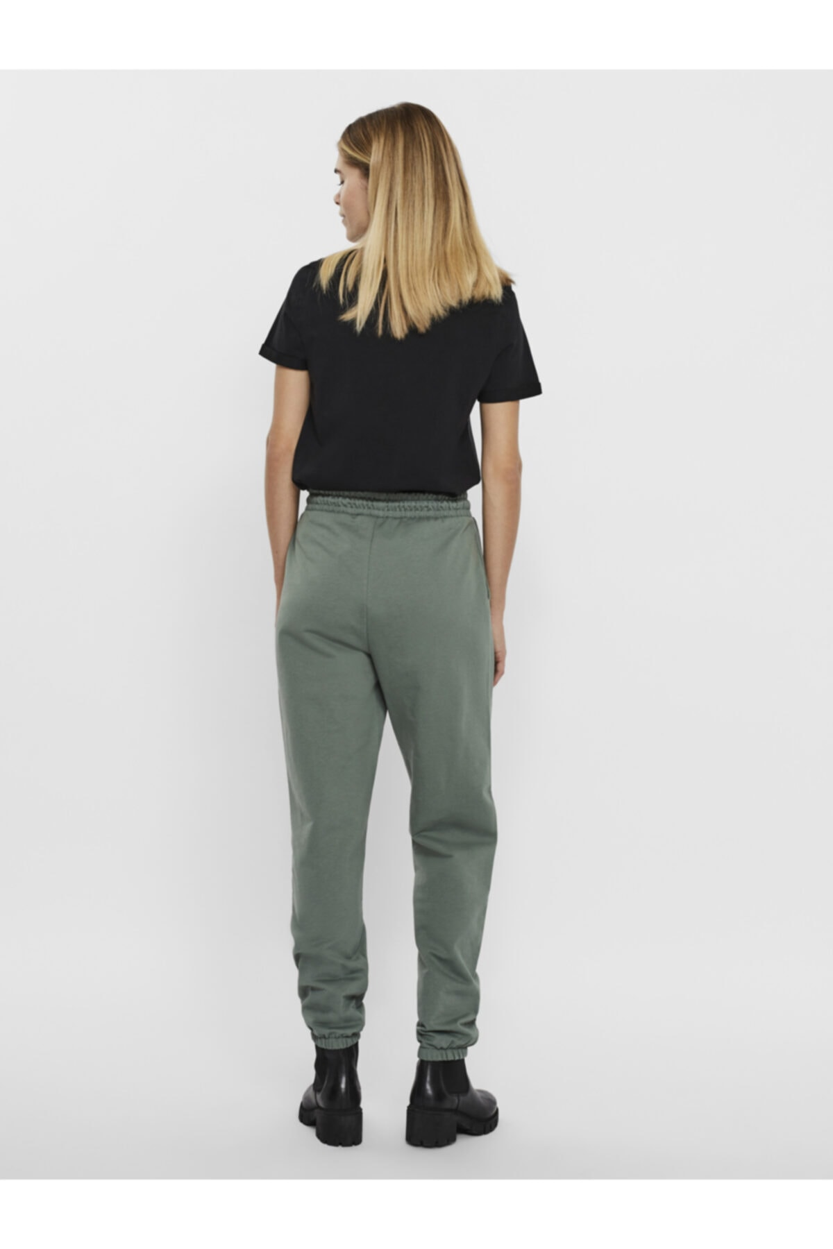 Vero Moda Kadın Yeşil Paçası Lastikli Yüksek Bel  Pantolon 2