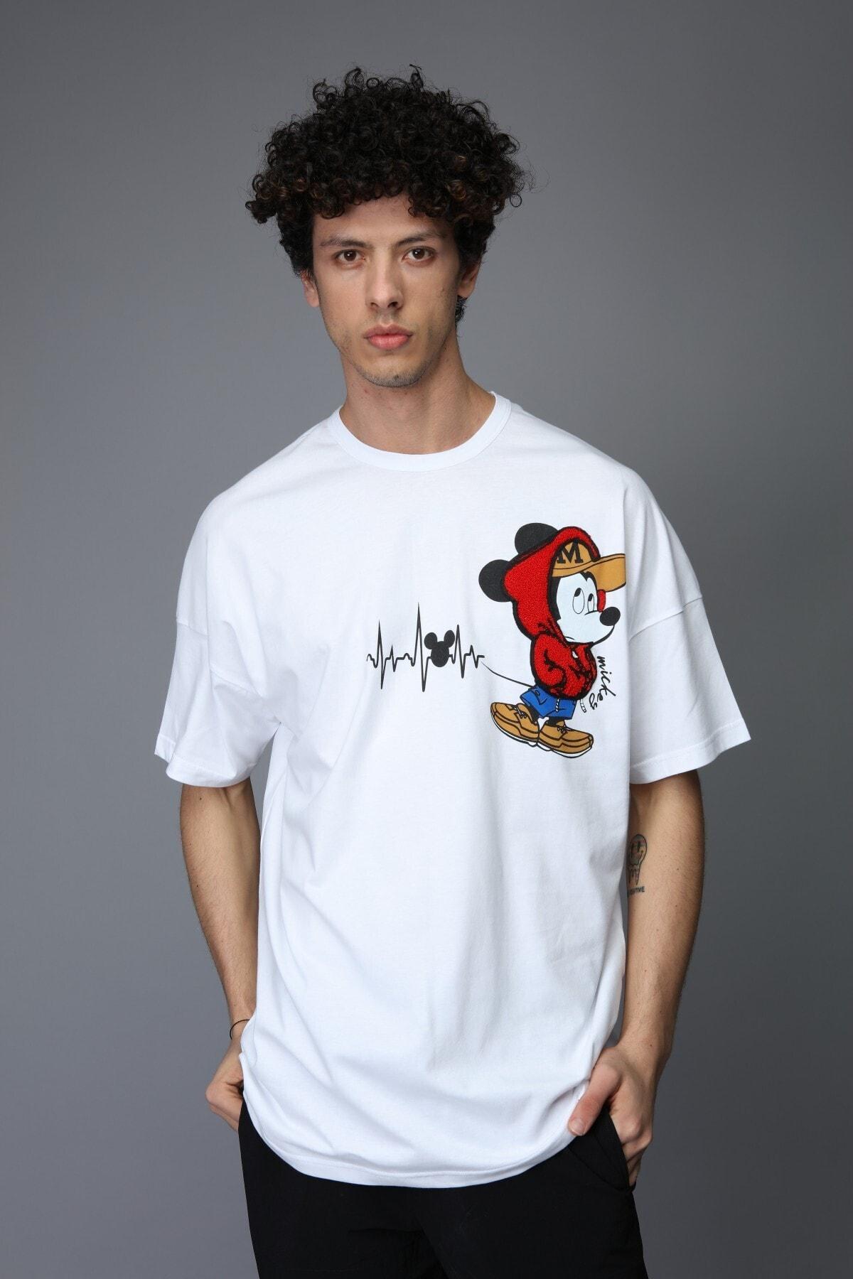 Rocqerx Erkek Beyaz Mickey Mouse Oversize Tshirt 2