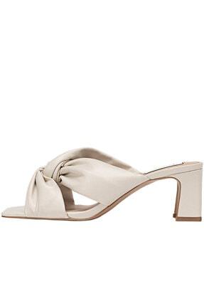 Stradivarius Kadın Ekru Düğümlü Topuklu Sandalet
