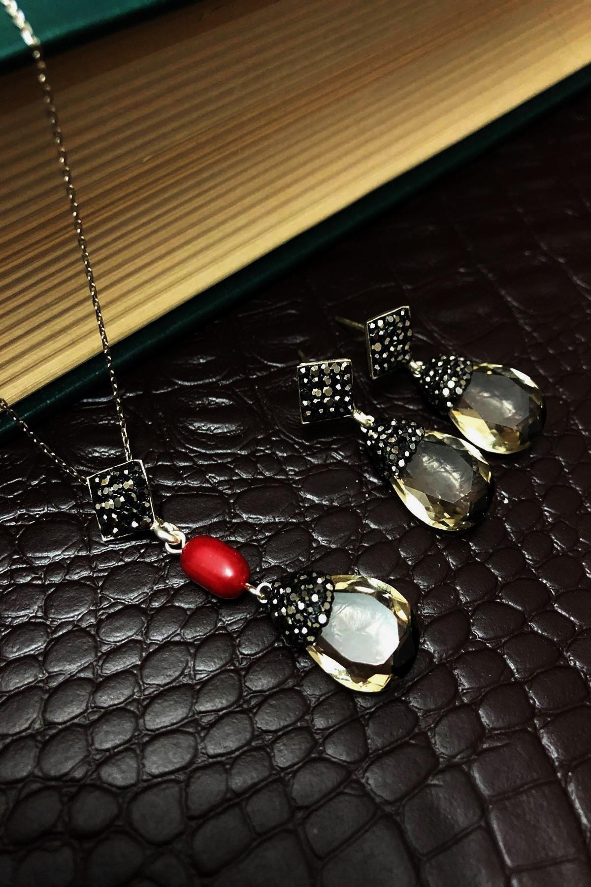 Dr. Stone Kadın Topaz Rengi Hindistan Kristali Ve Mercan Gümüş Set Xdrsott7 2