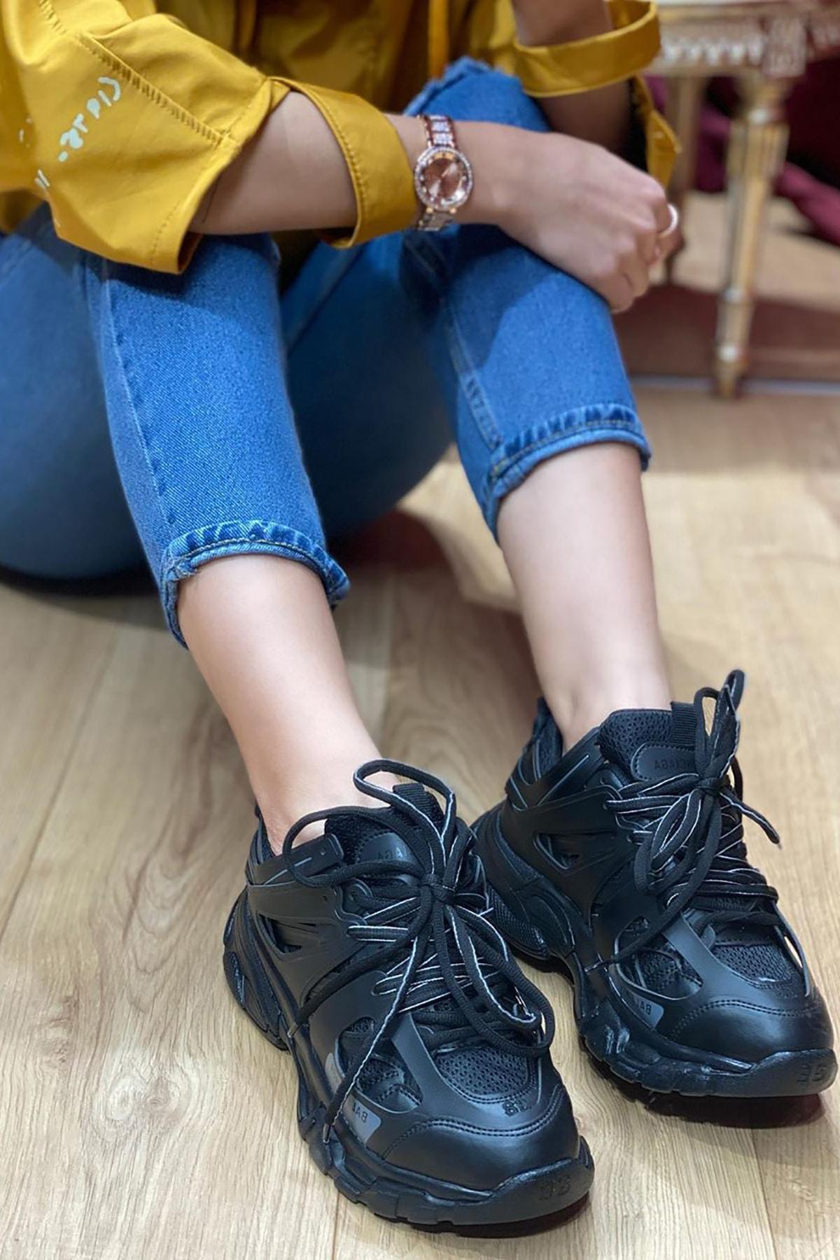 NOVELYA Siyah Track Yüksek Taban Unisex Sneakers Ayakkabı 2