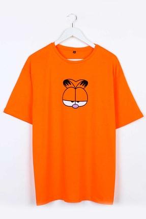 Sekizbiraltı Garfield Baskılı Turuncu Oversize Unisex Tshirt