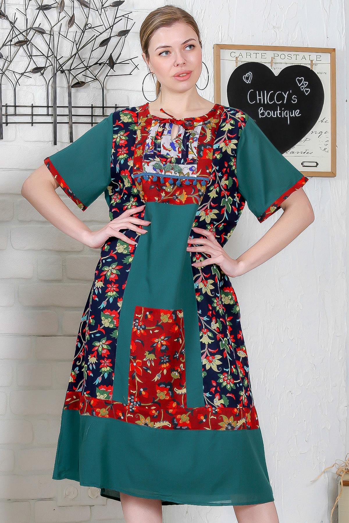 Chiccy Kadın Yeşil Sıfır Yaka Tülbent Bloklu Astarlı Kısa Kollu Elbise M10160000EL95296