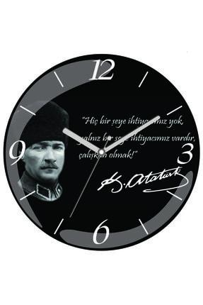 3M Atatürk Çalışmak Baskılı Bombeli Gerçek Cam Duvar Saati