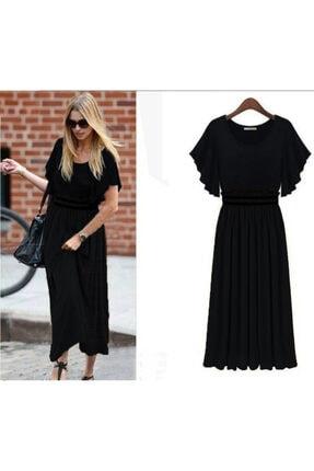 JANES Kadın Siyah Üstü Sandy Kumaş Altı Şifon Beli Lastikli Elbise