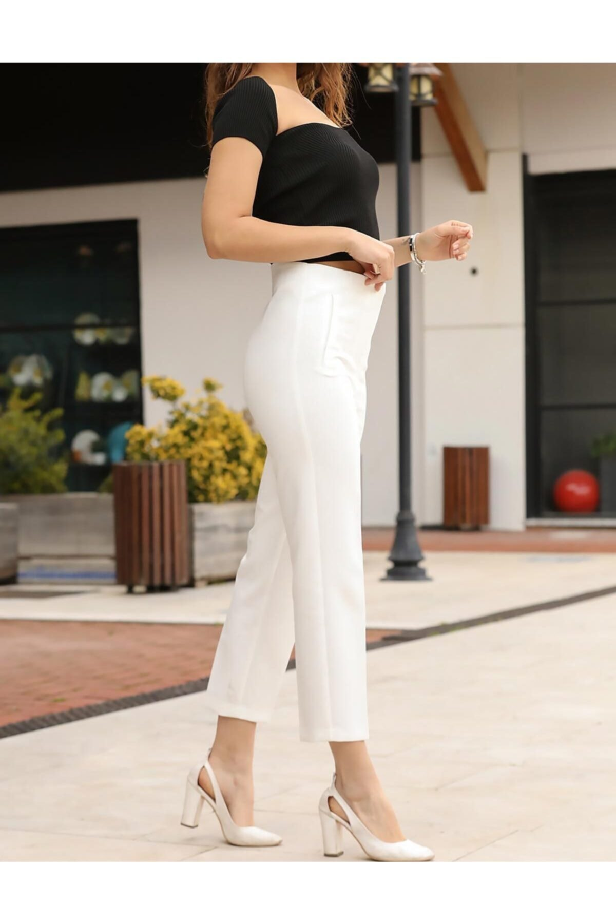 ZARAZA Kadın Ekru Pesli Pantolon 1