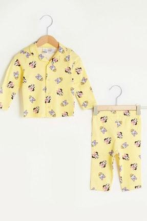 LC Waikiki Kız Bebek Açık Sarı Baskıl Lu9 Pijama Takımı