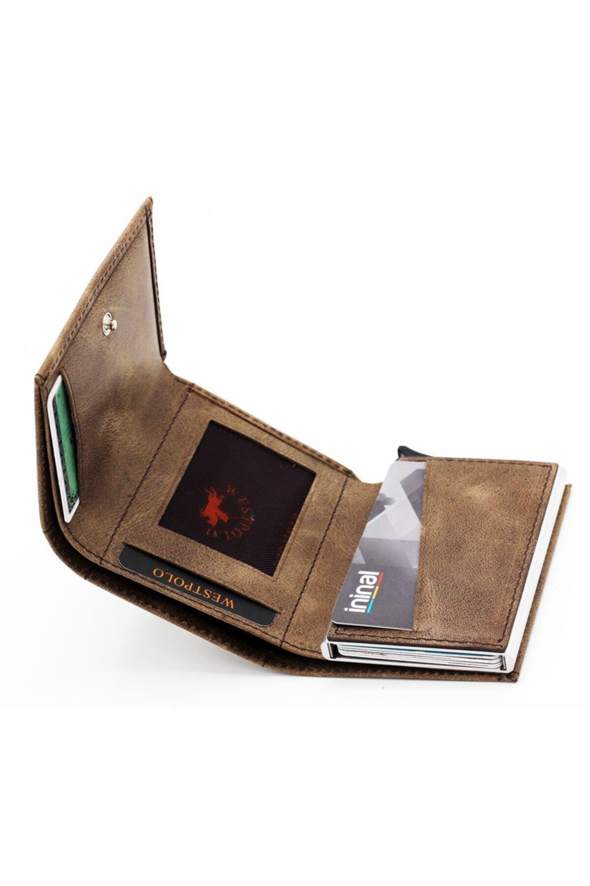 Westpolo Erkek Kahverengi Hakiki Deri Mekanizmalı Cüzdan Kartlık 2