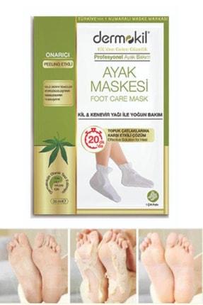 Dermokil Doğal Kil Ve Kenevir Içerikli Foot Peeling Pack Çorap Tipi Ayak Peeling Maskesi Topuk Çatlak Maskesi