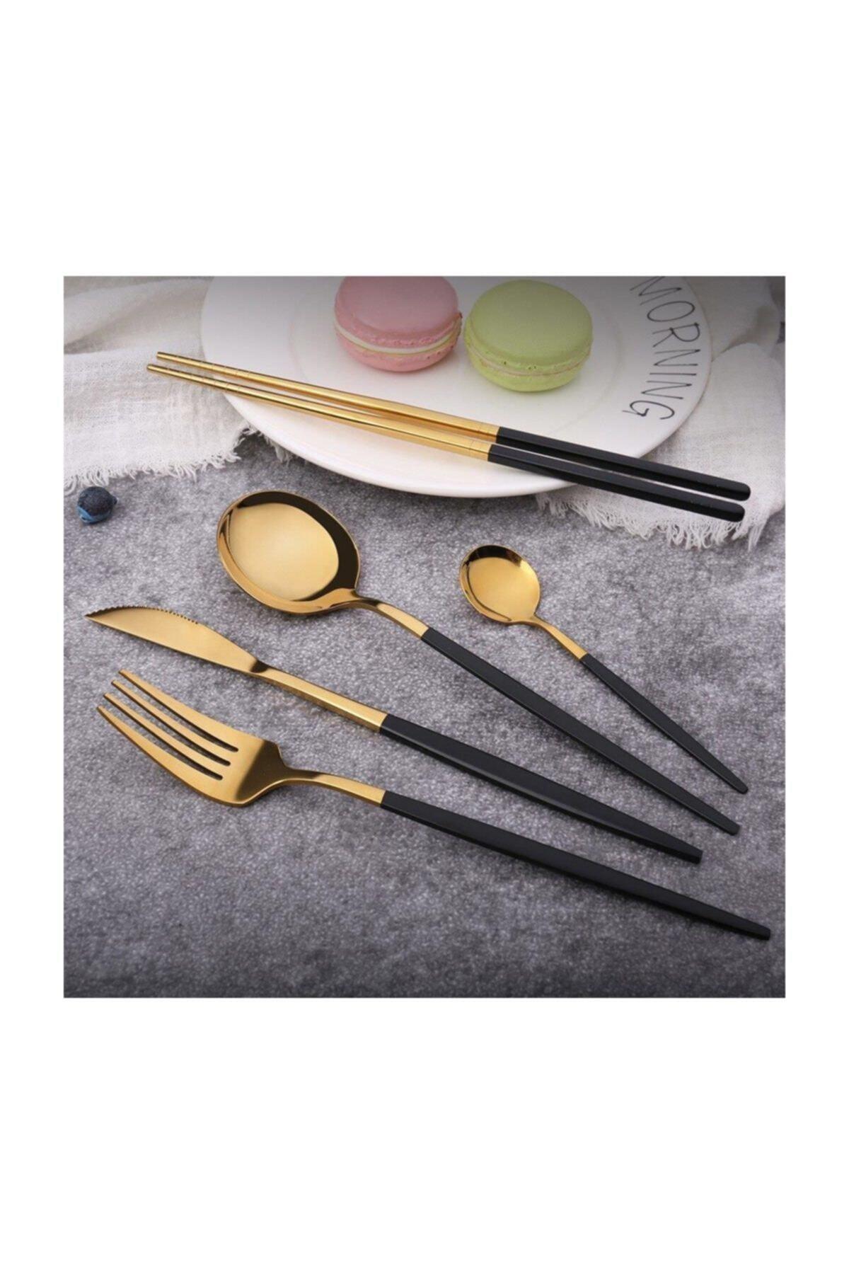 Pink&More Altın Siyah Parlak Çatal Bıçak Seti 36 Parça 2