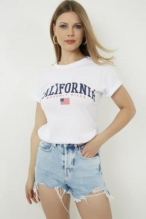 Vis a Vis Kadın Beyaz Ön Baskılı Bisiklet Yaka T-Shirt STN878KTS128