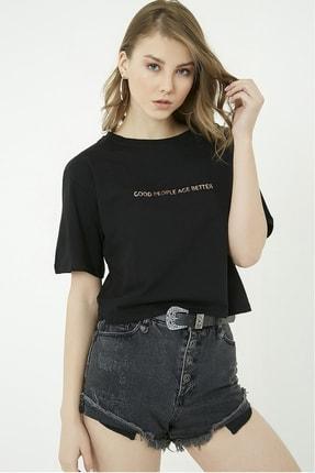 Vis a Vis Baskılı Crop Tshirt - Siyah-gold