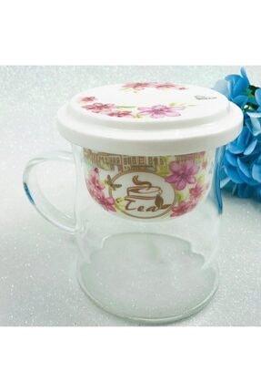 Paçi Bitki Çayı Demleme Porselen Kapaklı&süzgeçli Cam Kupa 400 ml