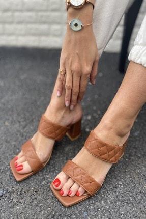 İnan Ayakkabı Kadın Taba Kapitone Dikiş Detaylı Iki Bant Topuklu Terlik