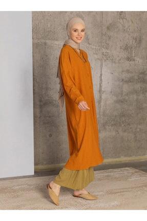 Loreen Kadın Hardal Boydan Düğmeli Tunik