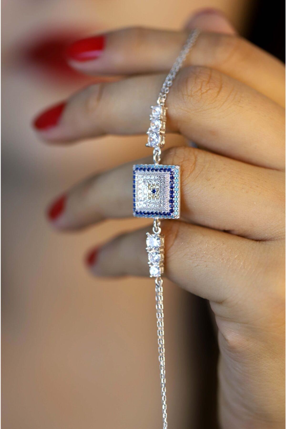 Midyat Gümüş Dünyası Kadın 925 Ayar Gümüş Nazar Model Zirkon Taşlı Bileklik 1