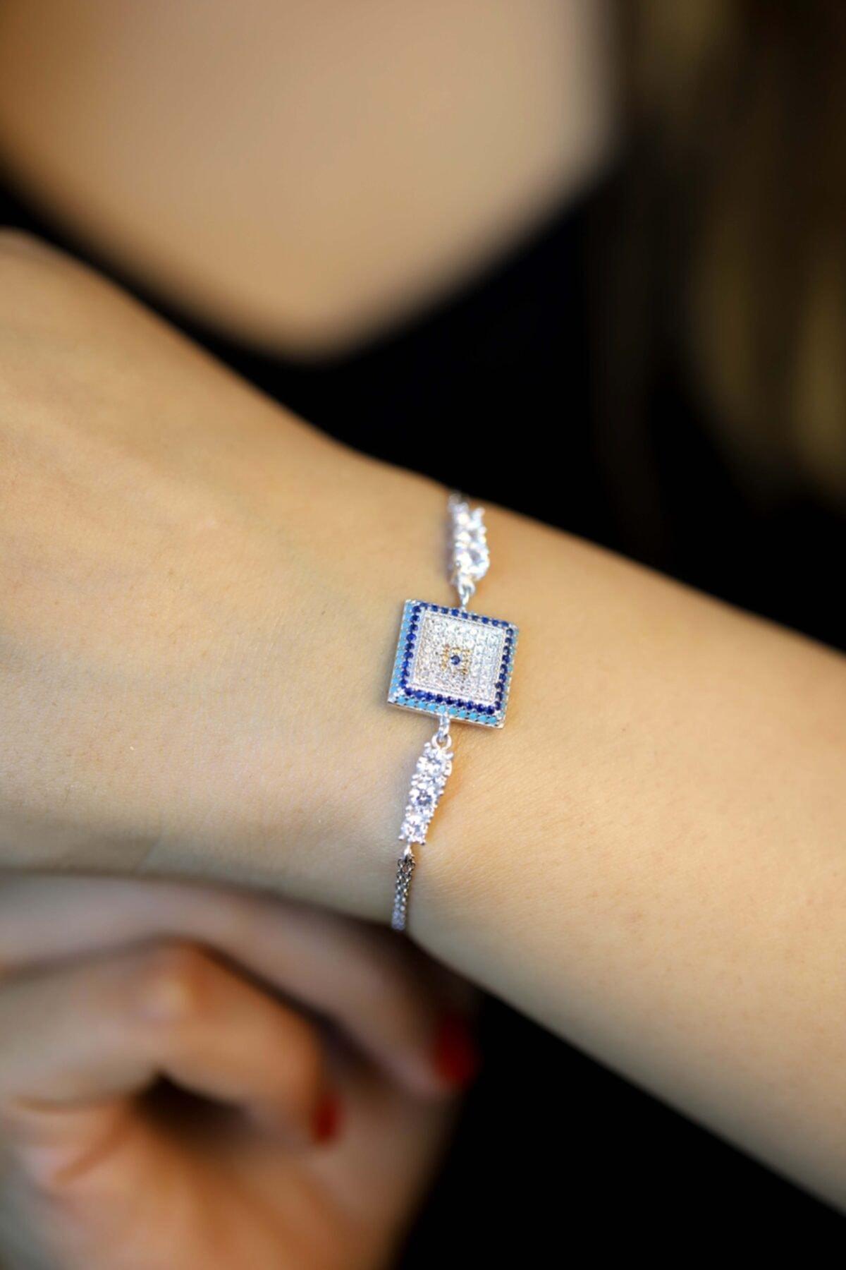 Midyat Gümüş Dünyası Kadın 925 Ayar Gümüş Nazar Model Zirkon Taşlı Bileklik 2