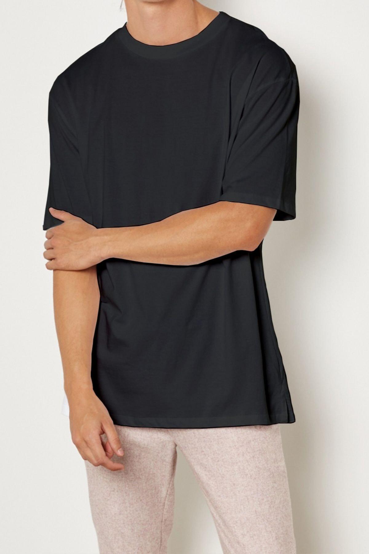 Relax&Basic Erkek Siyah Pamuklu Kısa Kollu Tişört 1