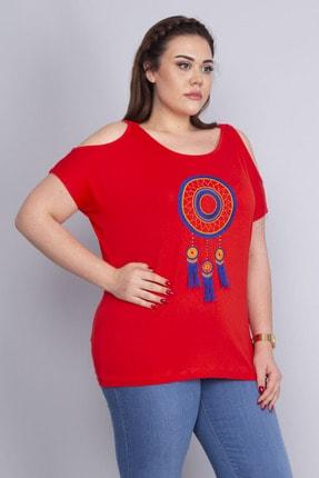 Şans Kadın Kırmızı Nakış Detaylı Omuz Dekolteli Viskon Bluz 65N22717