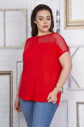 Şans Kadın Kırmızı File Detaylı Düşük Kol Viskon Bluz 65N22713