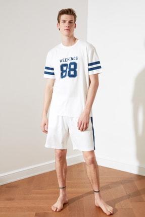 TRENDYOL MAN Beyaz Baskılı Örme Pijama Takımı THMSS21PT0304