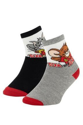 DeFacto Erkek Çocuk Gri Tom Ve Jerry Lisanslı 2'li Soket Çorap
