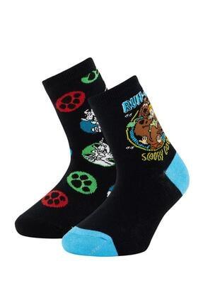 DeFacto Erkek Çocuk Siyah Scooby Doo Lisanlı 2'li Soket Çorap